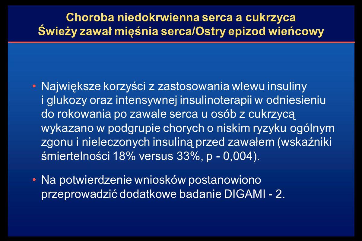 Choroba niedokrwienna serca a cukrzyca Świeży zawał mięśnia serca/Ostry epizod wieńcowy Największe korzyści z zastosowania wlewu insuliny i glukozy oraz intensywnej insulinoterapii w odniesieniu do rokowania po zawale serca u osób z cukrzycą wykazano w podgrupie chorych o niskim ryzyku ogólnym zgonu i nieleczonych insuliną przed zawałem (wskaźniki śmiertelności 18% versus 33%, p - 0,004).