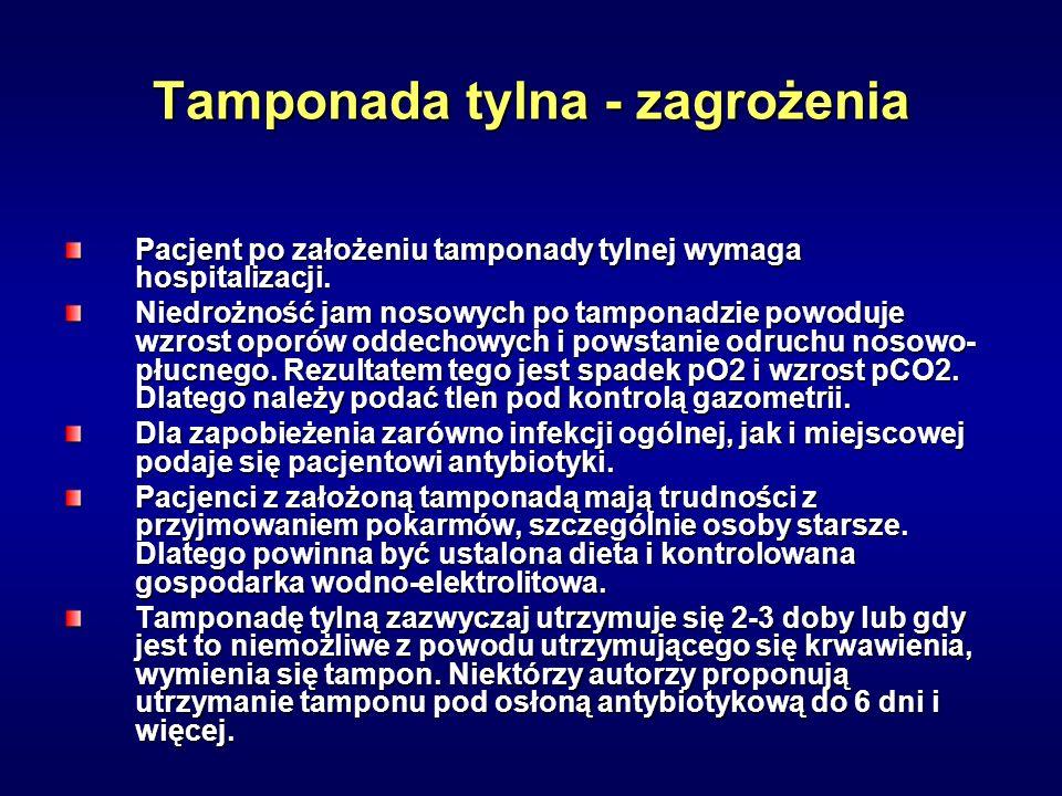 Tamponada tylna - zagrożenia Pacjent po założeniu tamponady tylnej wymaga hospitalizacji. Niedrożność jam nosowych po tamponadzie powoduje wzrost opor