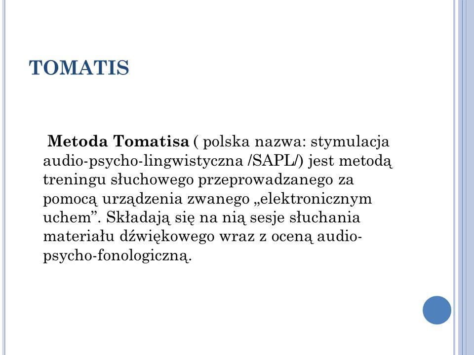 TOMATIS Metoda Tomatisa ( polska nazwa: stymulacja audio-psycho-lingwistyczna /SAPL/) jest metodą treningu słuchowego przeprowadzanego za pomocą urząd