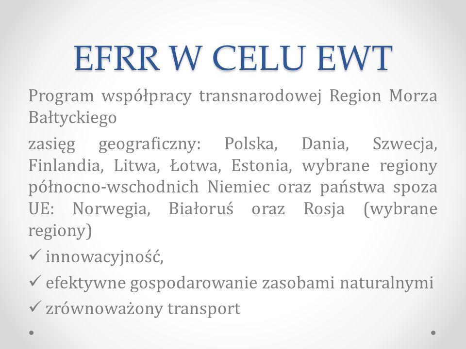 EFRR W CELU EWT Program współpracy transnarodowej Region Morza Bałtyckiego zasięg geograficzny: Polska, Dania, Szwecja, Finlandia, Litwa, Łotwa, Estonia, wybrane regiony północno-wschodnich Niemiec oraz państwa spoza UE: Norwegia, Białoruś oraz Rosja (wybrane regiony) innowacyjność, efektywne gospodarowanie zasobami naturalnymi zrównoważony transport