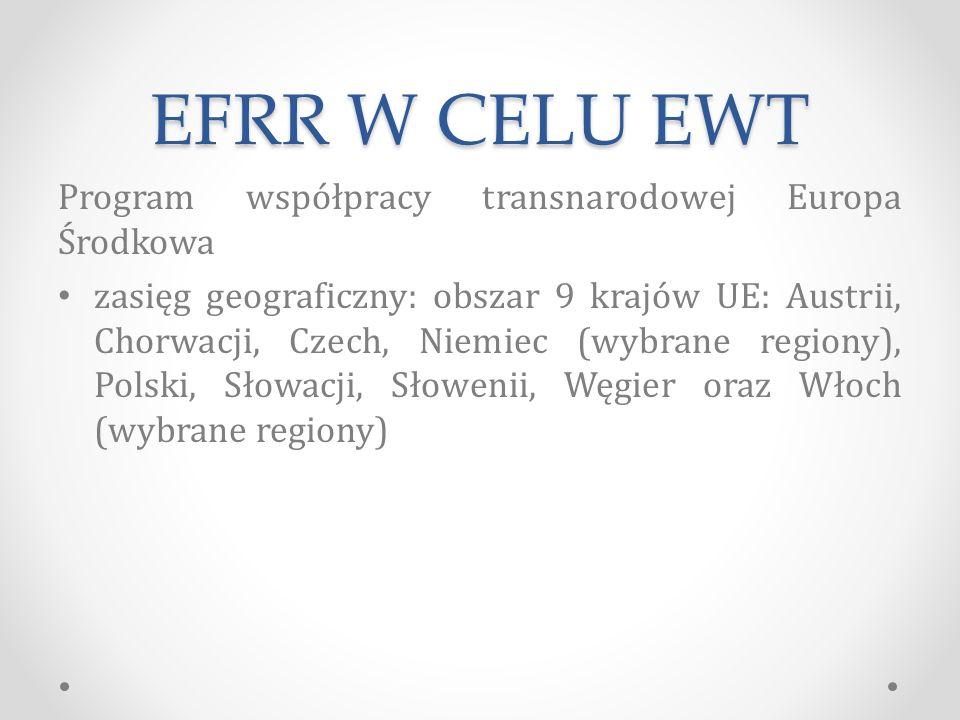 EFRR W CELU EWT Program współpracy transnarodowej Europa Środkowa zasięg geograficzny: obszar 9 krajów UE: Austrii, Chorwacji, Czech, Niemiec (wybrane regiony), Polski, Słowacji, Słowenii, Węgier oraz Włoch (wybrane regiony)