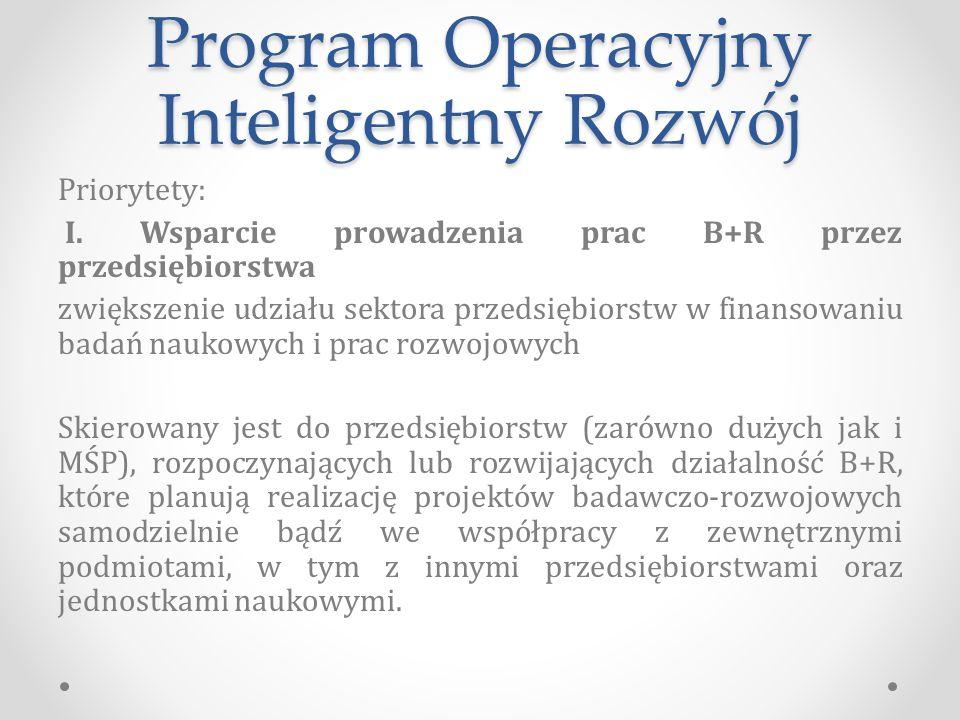 Program Operacyjny Inteligentny Rozwój Priorytety: I.