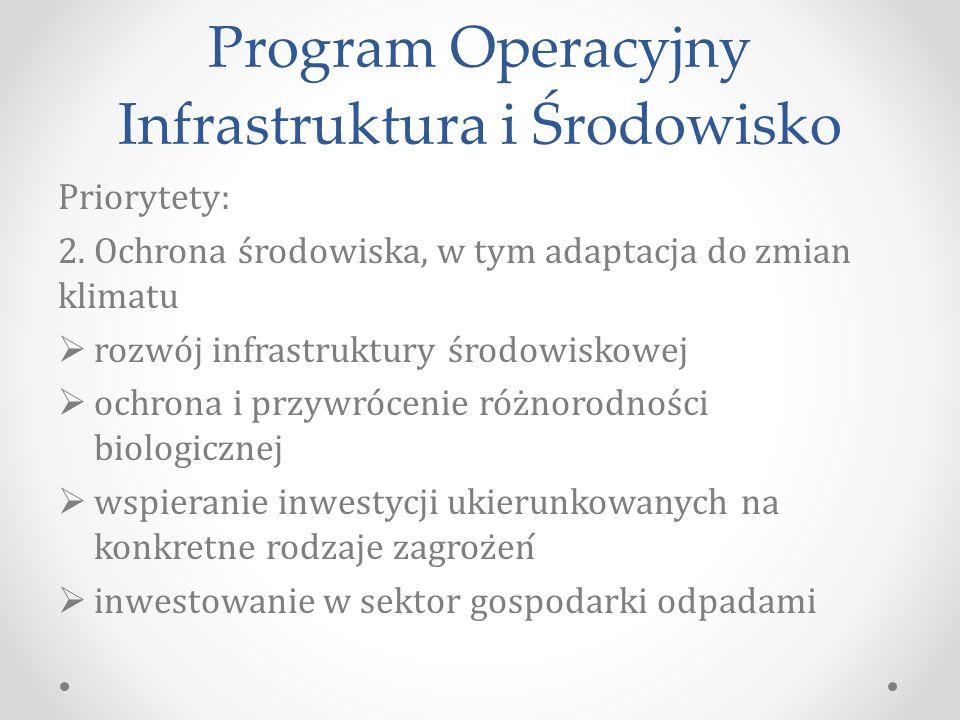 Program Operacyjny Infrastruktura i Środowisko Priorytety: 2.