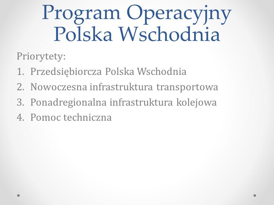 Program Operacyjny Polska Wschodnia Priorytety: 1.Przedsiębiorcza Polska Wschodnia 2.Nowoczesna infrastruktura transportowa 3.Ponadregionalna infrastruktura kolejowa 4.Pomoc techniczna