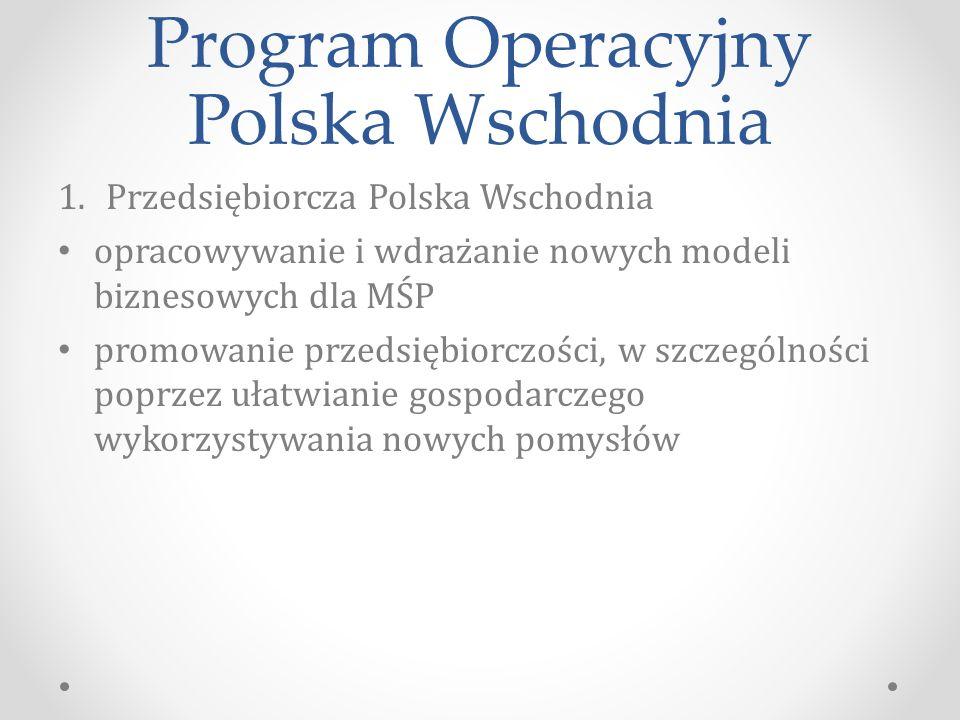 Program Operacyjny Polska Wschodnia 1.Przedsiębiorcza Polska Wschodnia opracowywanie i wdrażanie nowych modeli biznesowych dla MŚP promowanie przedsiębiorczości, w szczególności poprzez ułatwianie gospodarczego wykorzystywania nowych pomysłów