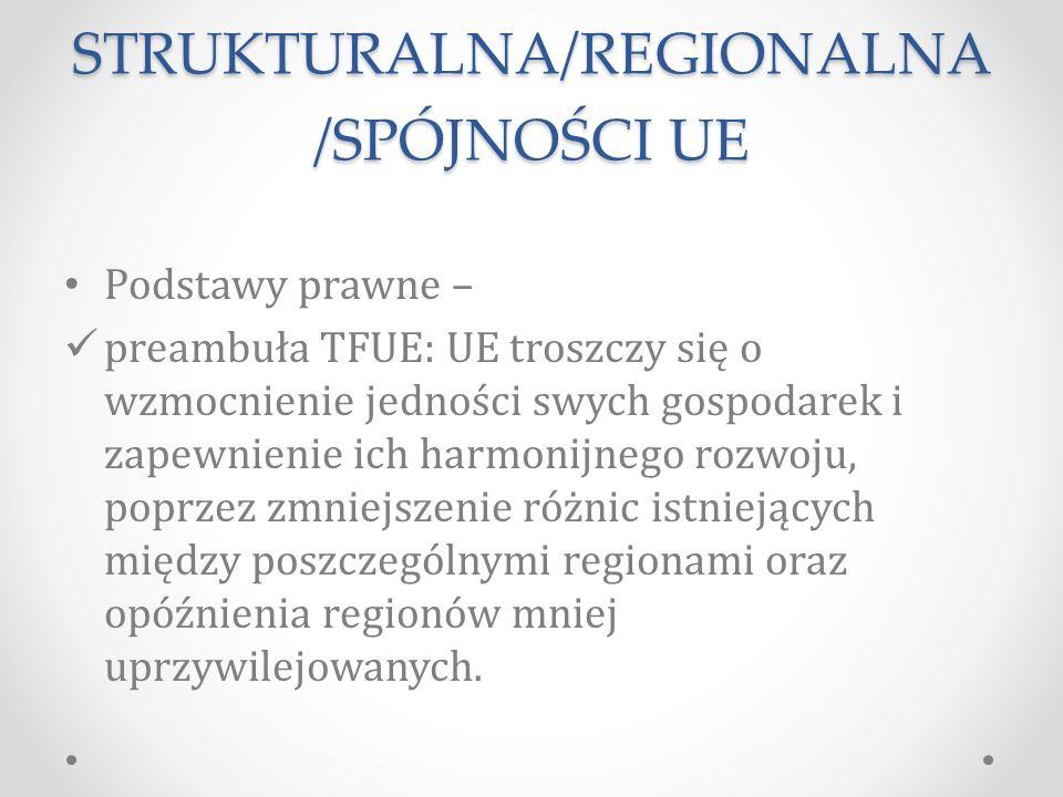 POLITYKA STRUKTURALNA/REGIONALNA /SPÓJNOŚCI UE Podstawy prawne – preambuła TFUE: UE troszczy się o wzmocnienie jedności swych gospodarek i zapewnienie ich harmonijnego rozwoju, poprzez zmniejszenie różnic istniejących między poszczególnymi regionami oraz opóźnienia regionów mniej uprzywilejowanych.