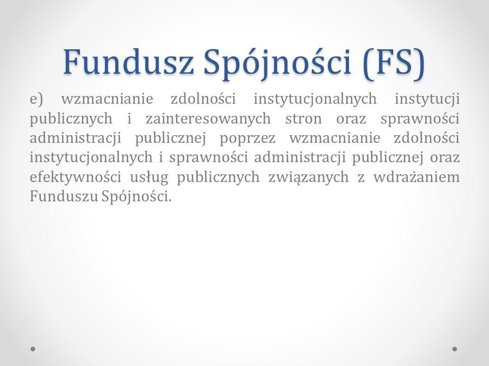 Fundusz Spójności (FS) e) wzmacnianie zdolności instytucjonalnych instytucji publicznych i zainteresowanych stron oraz sprawności administracji publicznej poprzez wzmacnianie zdolności instytucjonalnych i sprawności administracji publicznej oraz efektywności usług publicznych związanych z wdrażaniem Funduszu Spójności.