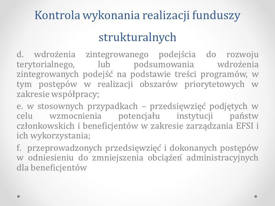 Kontrola wykonania realizacji funduszy strukturalnych d.