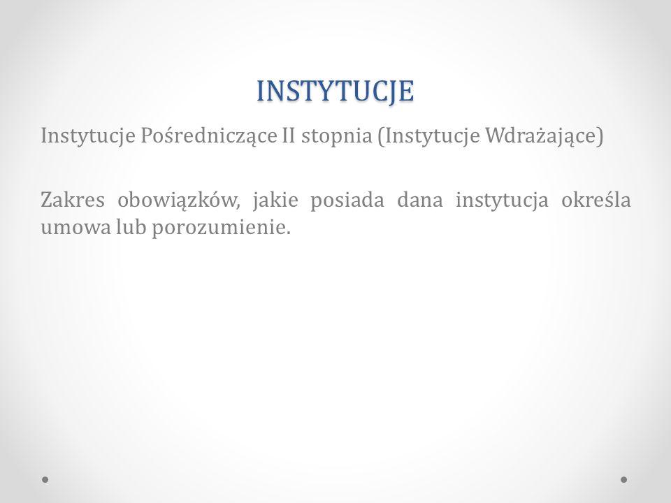 INSTYTUCJE Instytucje Pośredniczące II stopnia (Instytucje Wdrażające) Zakres obowiązków, jakie posiada dana instytucja określa umowa lub porozumienie.