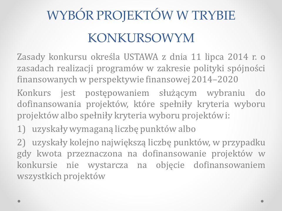 WYBÓR PROJEKTÓW W TRYBIE KONKURSOWYM Zasady konkursu określa USTAWA z dnia 11 lipca 2014 r.
