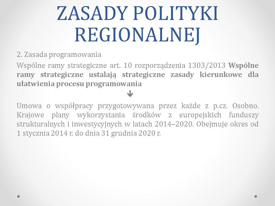 ZASADY POLITYKI REGIONALNEJ 2.Zasada programowania Wspólne ramy strategiczne art.