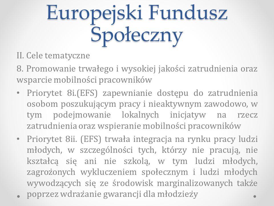 Europejski Fundusz Społeczny II.Cele tematyczne 8.