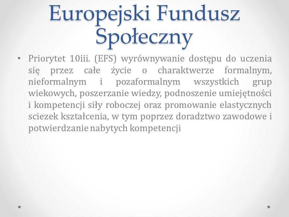 Europejski Fundusz Społeczny Priorytet 10iii.