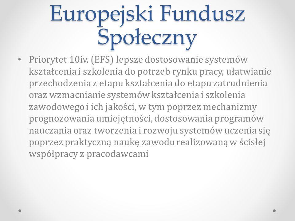 Europejski Fundusz Społeczny Priorytet 10iv.