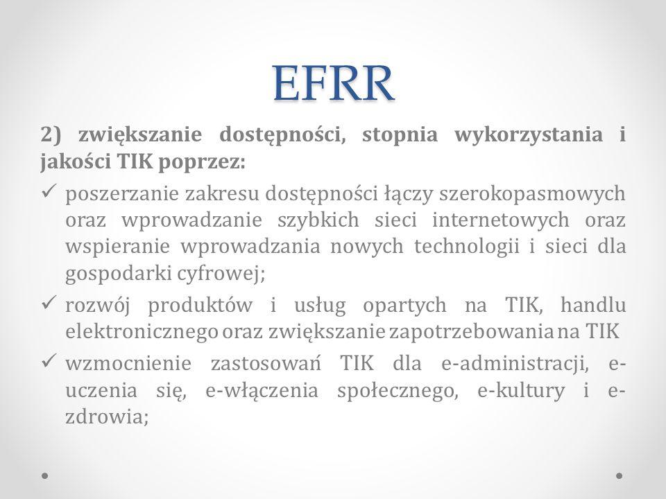 EFRR 2) zwiększanie dostępności, stopnia wykorzystania i jakości TIK poprzez: poszerzanie zakresu dostępności łączy szerokopasmowych oraz wprowadzanie szybkich sieci internetowych oraz wspieranie wprowadzania nowych technologii i sieci dla gospodarki cyfrowej; rozwój produktów i usług opartych na TIK, handlu elektronicznego oraz zwiększanie zapotrzebowania na TIK wzmocnienie zastosowań TIK dla e-administracji, e- uczenia się, e-włączenia społecznego, e-kultury i e- zdrowia;