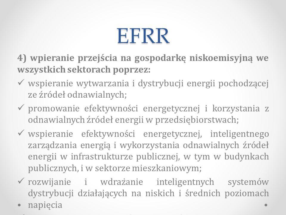 EFRR 4) wpieranie przejścia na gospodarkę niskoemisyjną we wszystkich sektorach poprzez: wspieranie wytwarzania i dystrybucji energii pochodzącej ze źródeł odnawialnych; promowanie efektywności energetycznej i korzystania z odnawialnych źródeł energii w przedsiębiorstwach; wspieranie efektywności energetycznej, inteligentnego zarządzania energią i wykorzystania odnawialnych źródeł energii w infrastrukturze publicznej, w tym w budynkach publicznych, i w sektorze mieszkaniowym; rozwijanie i wdrażanie inteligentnych systemów dystrybucji działających na niskich i średnich poziomach napięcia promowanie strategii niskoemisyjnych