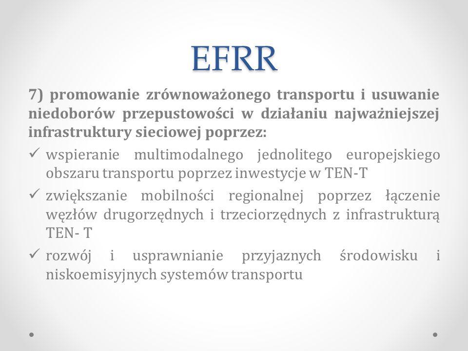 EFRR 7) promowanie zrównoważonego transportu i usuwanie niedoborów przepustowości w działaniu najważniejszej infrastruktury sieciowej poprzez: wspieranie multimodalnego jednolitego europejskiego obszaru transportu poprzez inwestycje w TEN-T zwiększanie mobilności regionalnej poprzez łączenie węzłów drugorzędnych i trzeciorzędnych z infrastrukturą TEN- T rozwój i usprawnianie przyjaznych środowisku i niskoemisyjnych systemów transportu