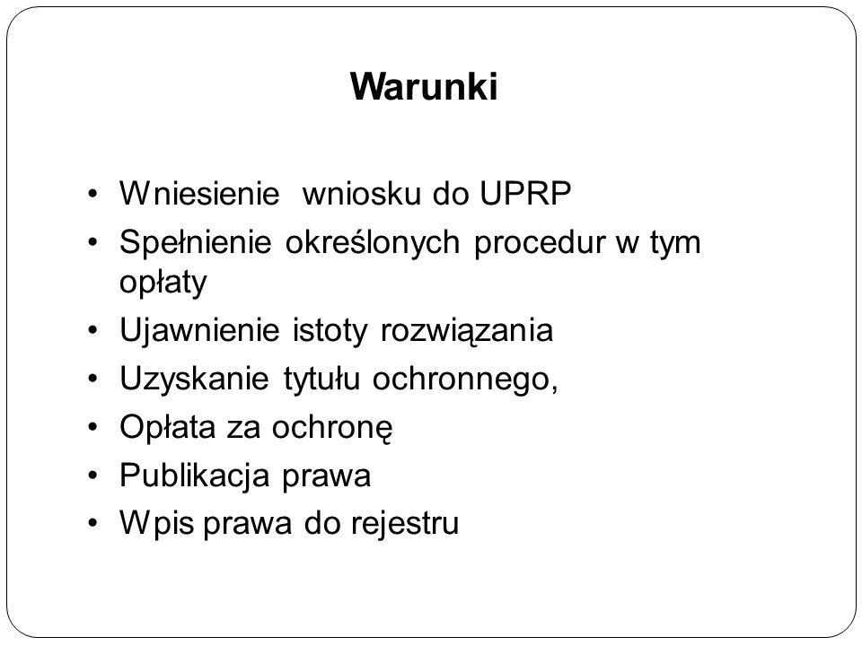 Warunki Wniesienie wniosku do UPRP Spełnienie określonych procedur w tym opłaty Ujawnienie istoty rozwiązania Uzyskanie tytułu ochronnego, Opłata za ochronę Publikacja prawa Wpis prawa do rejestru