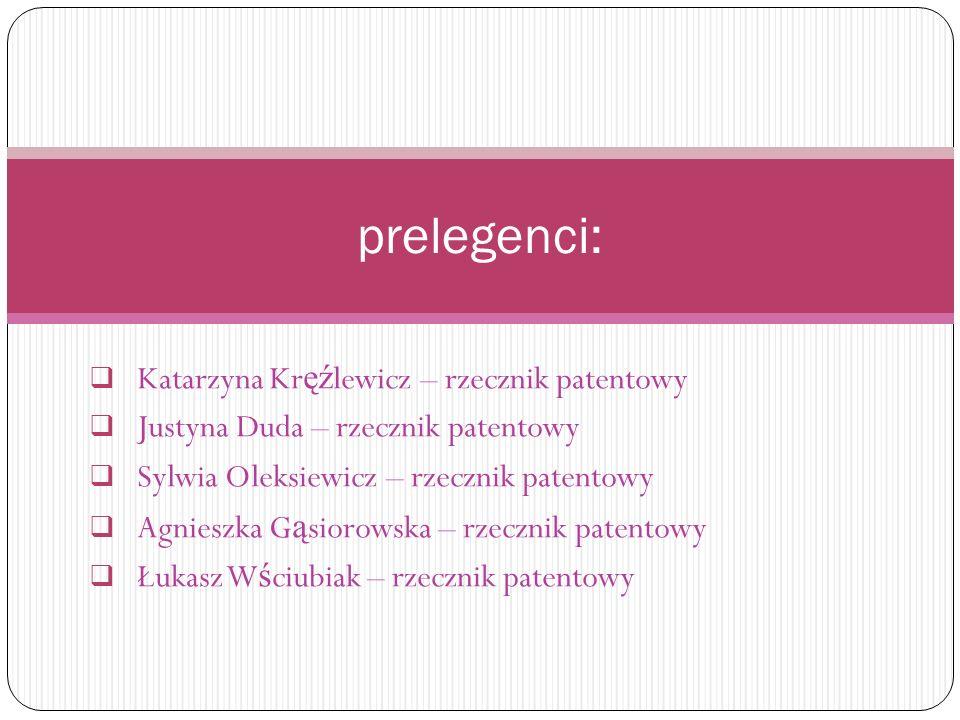  Katarzyna Kr ęź lewicz – rzecznik patentowy  Justyna Duda – rzecznik patentowy  Sylwia Oleksiewicz – rzecznik patentowy  Agnieszka G ą siorowska – rzecznik patentowy  Łukasz W ś ciubiak – rzecznik patentowy prelegenci: