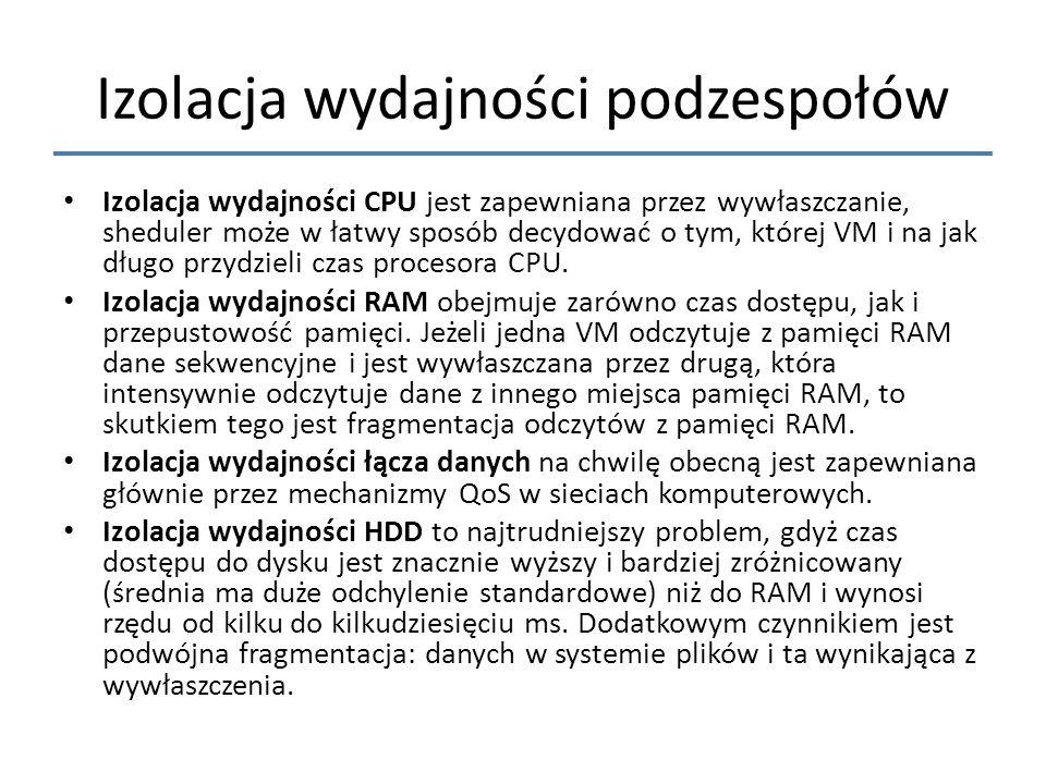 Izolacja wydajności podzespołów Izolacja wydajności CPU jest zapewniana przez wywłaszczanie, sheduler może w łatwy sposób decydować o tym, której VM i