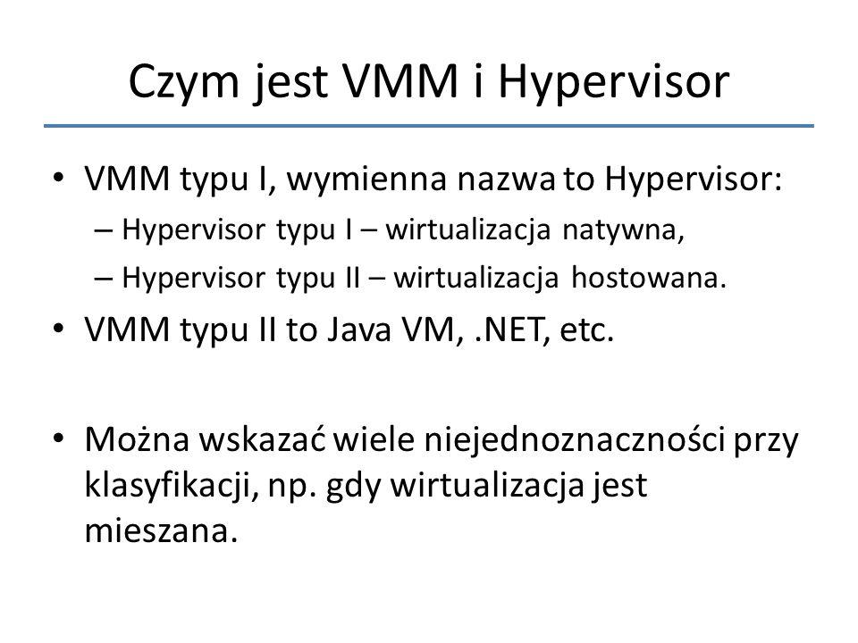 Czym jest VMM i Hypervisor VMM typu I, wymienna nazwa to Hypervisor: – Hypervisor typu I – wirtualizacja natywna, – Hypervisor typu II – wirtualizacja