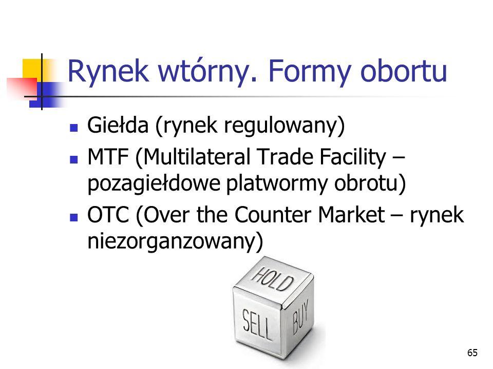 Rynek wtórny. Formy obortu Giełda (rynek regulowany) MTF (Multilateral Trade Facility – pozagiełdowe platwormy obrotu) OTC (Over the Counter Market –