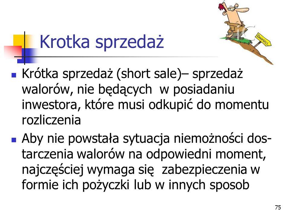 Krotka sprzedaż Krótka sprzedaż (short sale)– sprzedaż walorów, nie będących w posiadaniu inwestora, które musi odkupić do momentu rozliczenia Aby nie