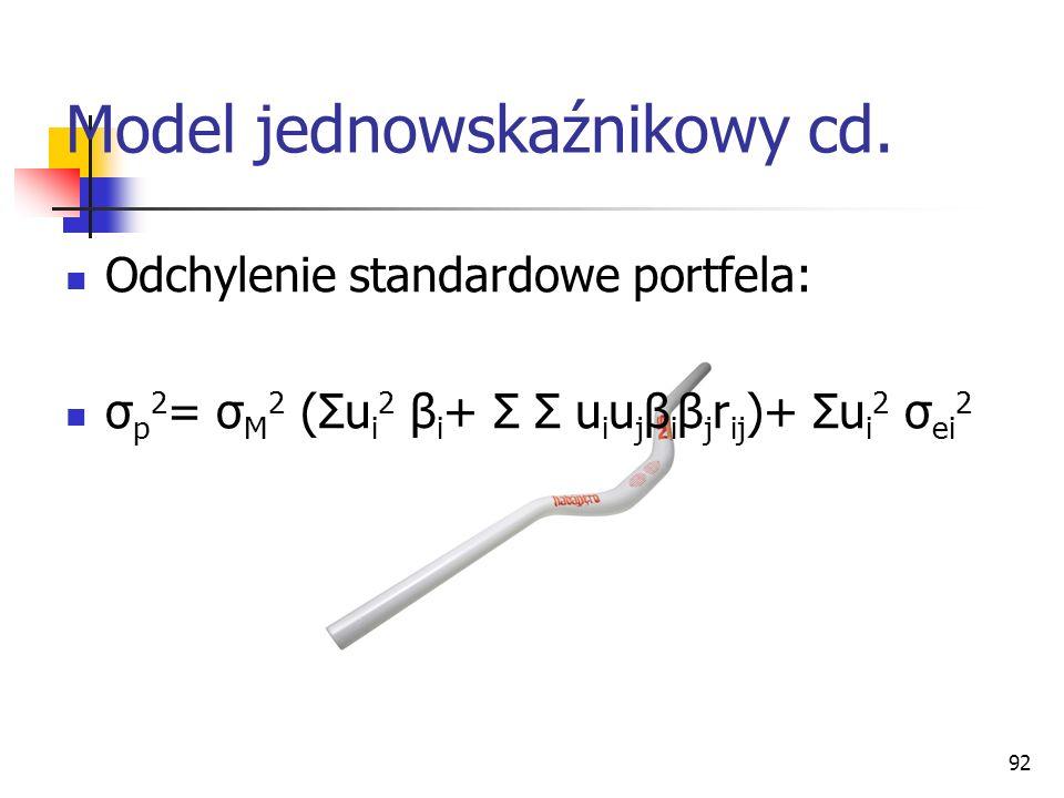 92 Model jednowskaźnikowy cd. Odchylenie standardowe portfela: σ p 2 = σ M 2 (Σu i 2 β i + Σ Σ u i u j β i β j r ij )+ Σu i 2 σ ei 2