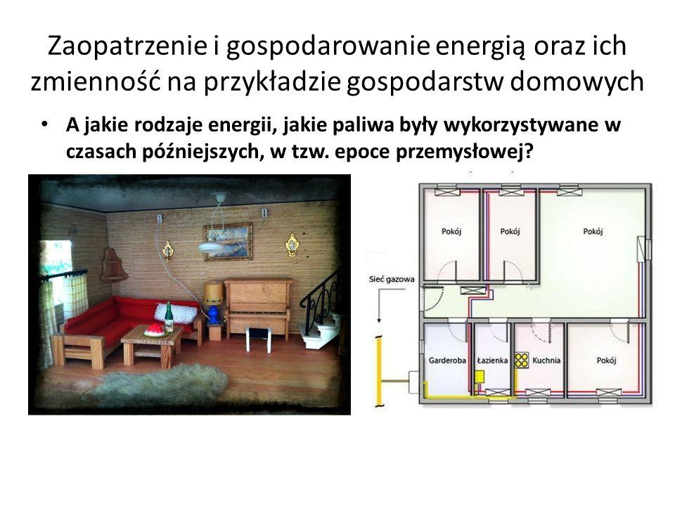 Zaopatrzenie i gospodarowanie energią oraz ich zmienność na przykładzie gospodarstw domowych Jakie rodzaje energii, paliwa są wykorzystywane w domach nowoczesnych (w epoce postprzemysłowej)?