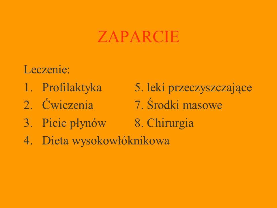 ZAPARCIE Leczenie: 1.Profilaktyka5.leki przeczyszczające 2.Ćwiczenia7.