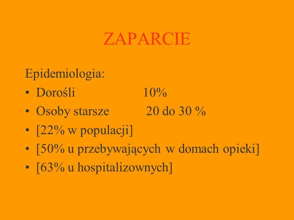 ZAPARCIE Epidemiologia: Dorośli 10% Osoby starsze 20 do 30 % [22% w populacji] [50% u przebywających w domach opieki] [63% u hospitalizownych]