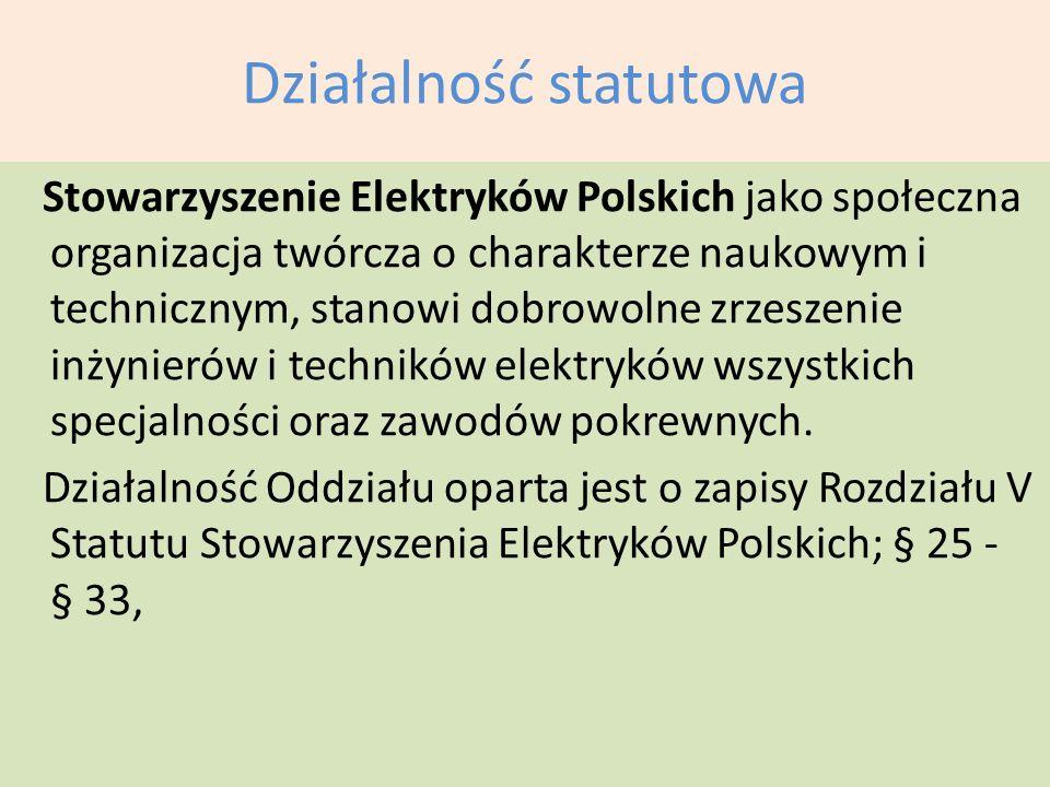 Działalność statutowa Stowarzyszenie Elektryków Polskich jako społeczna organizacja twórcza o charakterze naukowym i technicznym, stanowi dobrowolne z