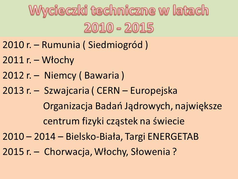 2010 r. – Rumunia ( Siedmiogród ) 2011 r. – Włochy 2012 r. – Niemcy ( Bawaria ) 2013 r. – Szwajcaria ( CERN – Europejska Organizacja Badań Jądrowych,