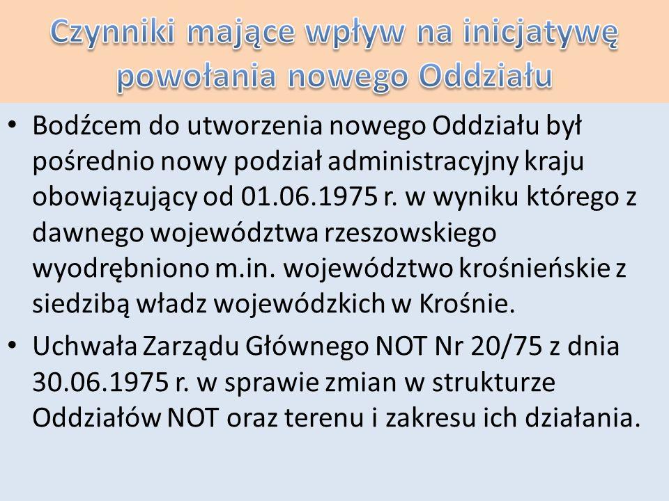 Początki Oddziału Krośnieńskiego W skład Oddziału krośnieńskiego weszło 14 Kół SEP powstałych w zakładach ówczesnego województwa krośnieńskiego głównie w największych ośrodkach przemysłowych województwa; Jaśle, Krośnie i Sanoku.