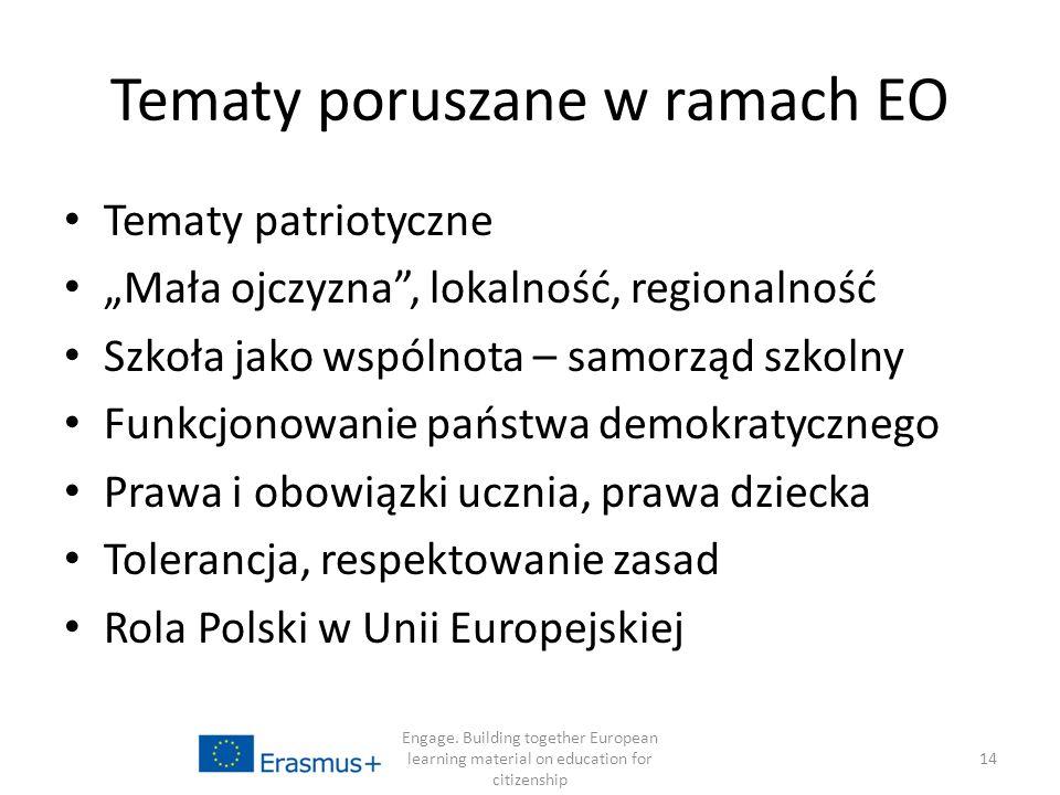"""Tematy poruszane w ramach EO Tematy patriotyczne """"Mała ojczyzna , lokalność, regionalność Szkoła jako wspólnota – samorząd szkolny Funkcjonowanie państwa demokratycznego Prawa i obowiązki ucznia, prawa dziecka Tolerancja, respektowanie zasad Rola Polski w Unii Europejskiej Engage."""