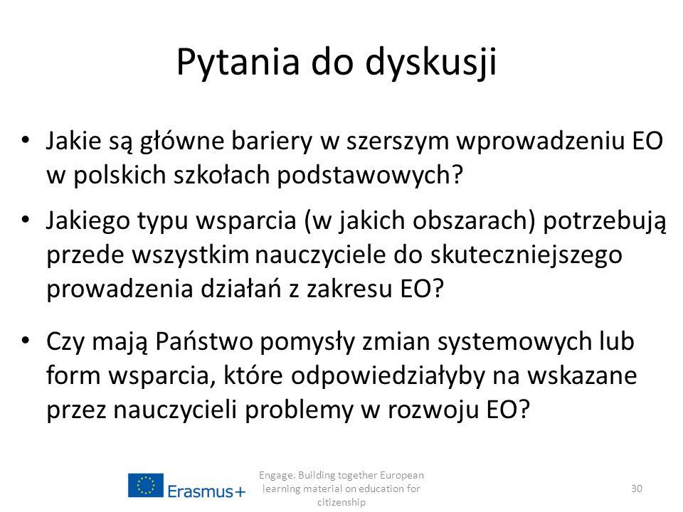 Pytania do dyskusji Jakie są główne bariery w szerszym wprowadzeniu EO w polskich szkołach podstawowych.
