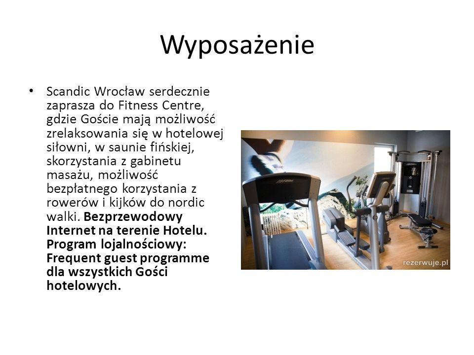 Wyposażenie Scandic Wrocław serdecznie zaprasza do Fitness Centre, gdzie Goście mają możliwość zrelaksowania się w hotelowej siłowni, w saunie fińskiej, skorzystania z gabinetu masażu, możliwość bezpłatnego korzystania z rowerów i kijków do nordic walki.