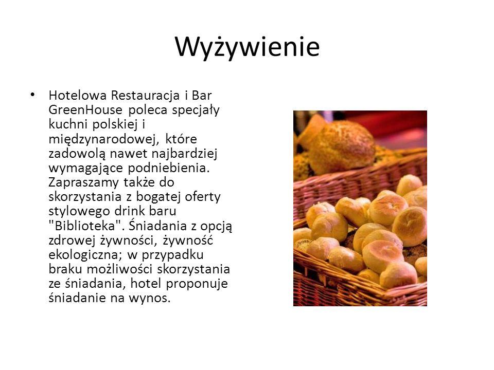 Wyżywienie Hotelowa Restauracja i Bar GreenHouse poleca specjały kuchni polskiej i międzynarodowej, które zadowolą nawet najbardziej wymagające podniebienia.
