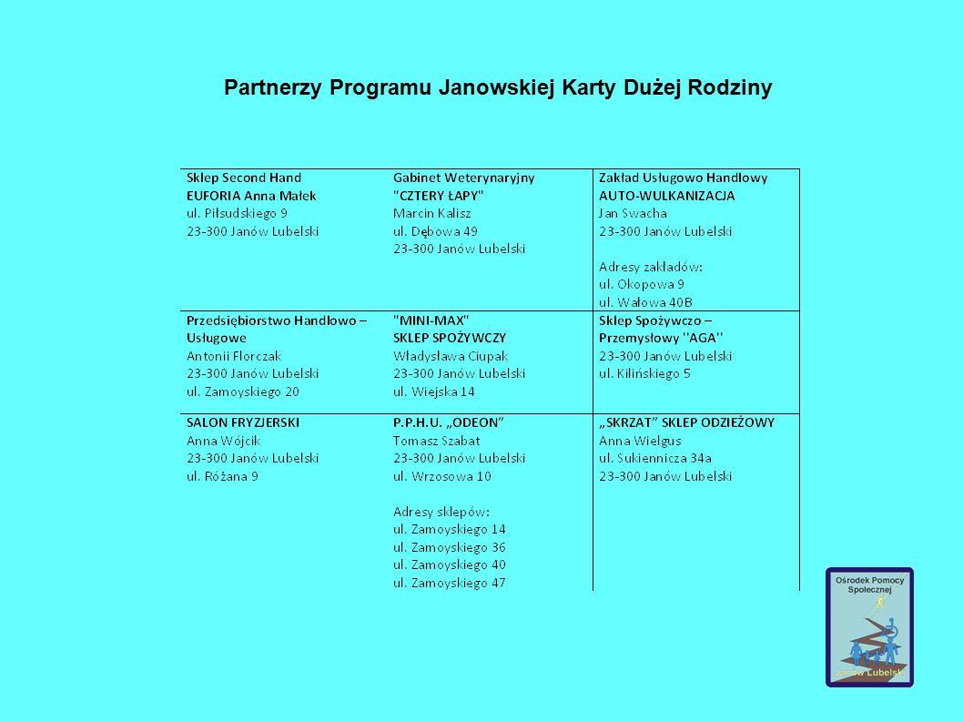 Partnerzy Programu Janowskiej Karty Dużej Rodziny