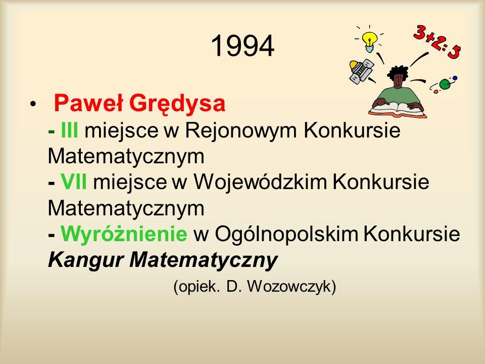 1994 Paweł Grędysa - III miejsce w Rejonowym Konkursie Matematycznym - VII miejsce w Wojewódzkim Konkursie Matematycznym - Wyróżnienie w Ogólnopolskim