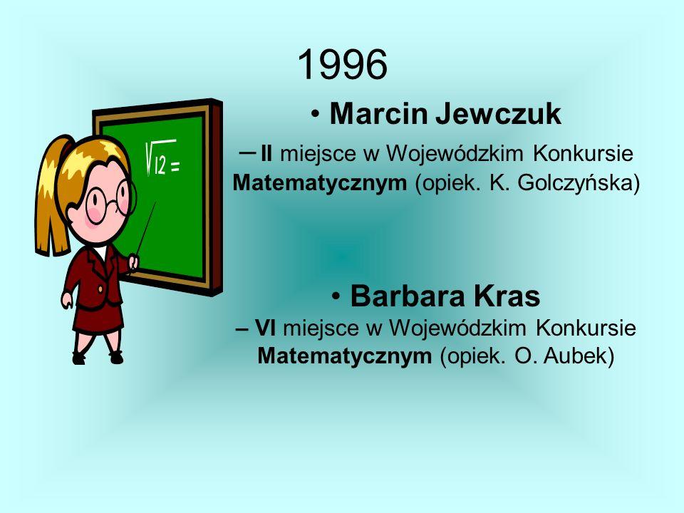 Marcin Jewczuk – II miejsce w Wojewódzkim Konkursie Matematycznym (opiek. K. Golczyńska) Barbara Kras – VI miejsce w Wojewódzkim Konkursie Matematyczn