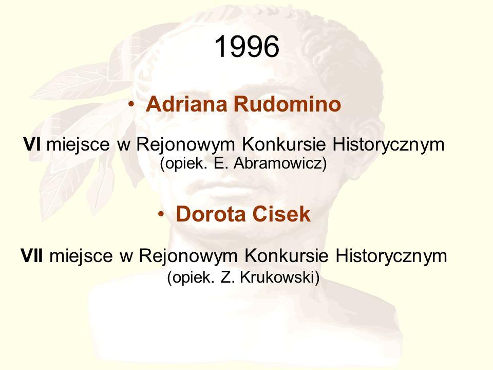 1996 Adriana Rudomino VI miejsce w Rejonowym Konkursie Historycznym (opiek.