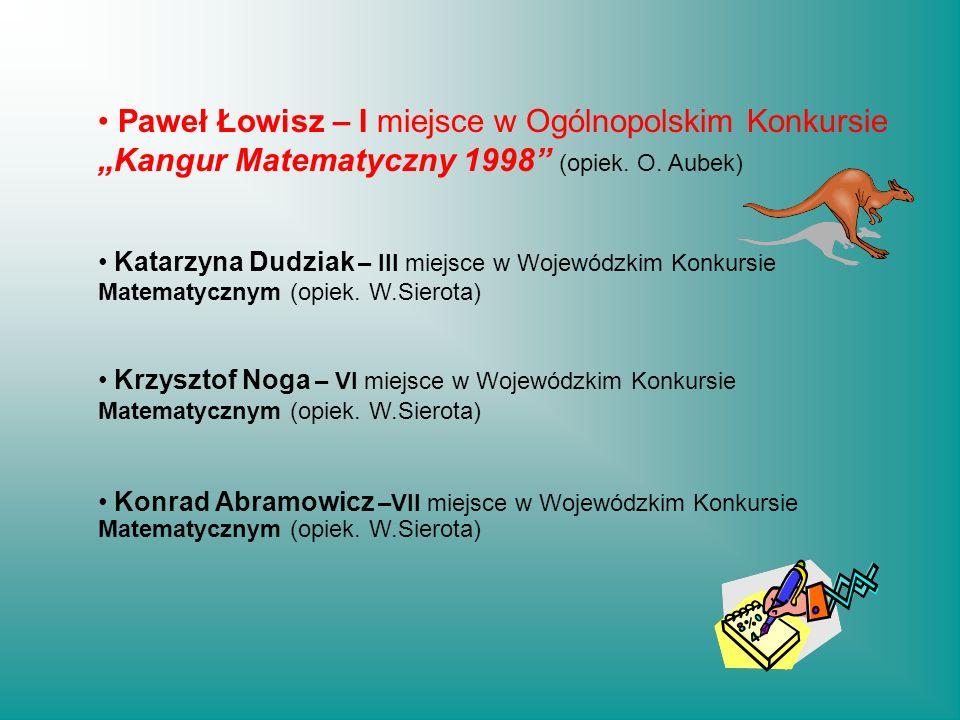 """Paweł Łowisz – I miejsce w Ogólnopolskim Konkursie """"Kangur Matematyczny 1998"""" (opiek. O. Aubek) Katarzyna Dudziak – III miejsce w Wojewódzkim Konkursi"""