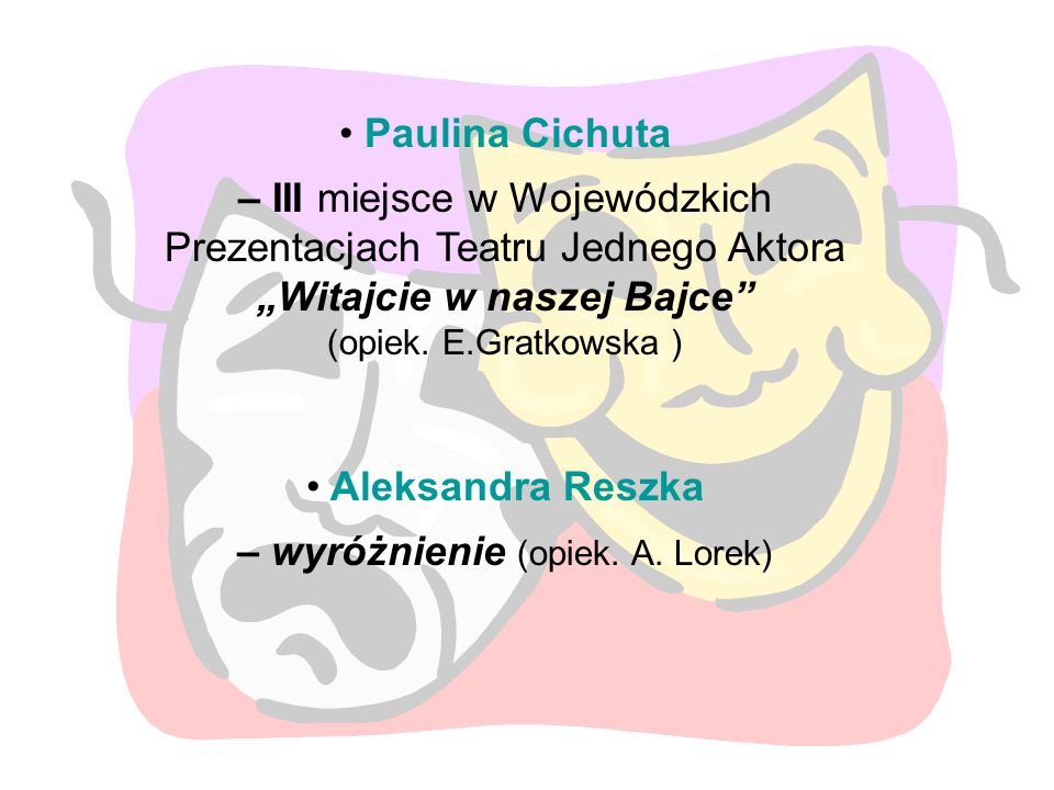"""Paulina Cichuta – III miejsce w Wojewódzkich Prezentacjach Teatru Jednego Aktora """"Witajcie w naszej Bajce"""" (opiek. E.Gratkowska ) Aleksandra Reszka –"""