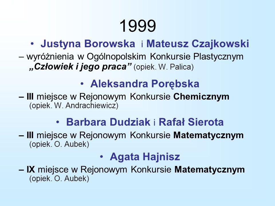 """1999 Justyna Borowska i Mateusz Czajkowski – wyróżnienia w Ogólnopolskim Konkursie Plastycznym """"Człowiek i jego praca"""" (opiek. W. Palica) Aleksandra P"""
