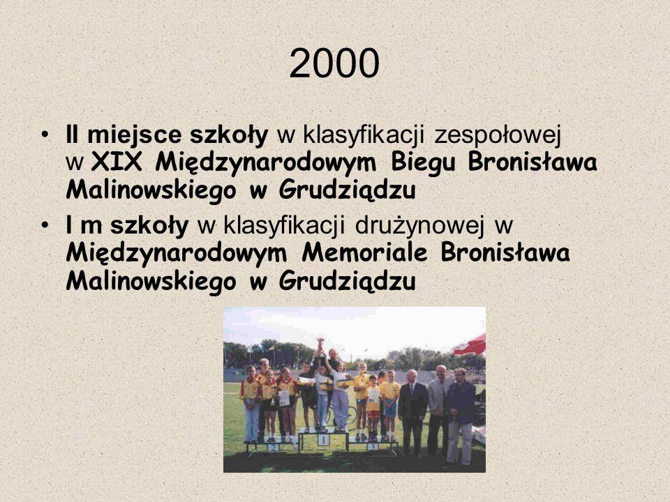 2000 II miejsce szkoły w klasyfikacji zespołowej w XIX Międzynarodowym Biegu Bronisława Malinowskiego w Grudziądzu I m szkoły w klasyfikacji drużynowej w Międzynarodowym Memoriale Bronisława Malinowskiego w Grudziądzu