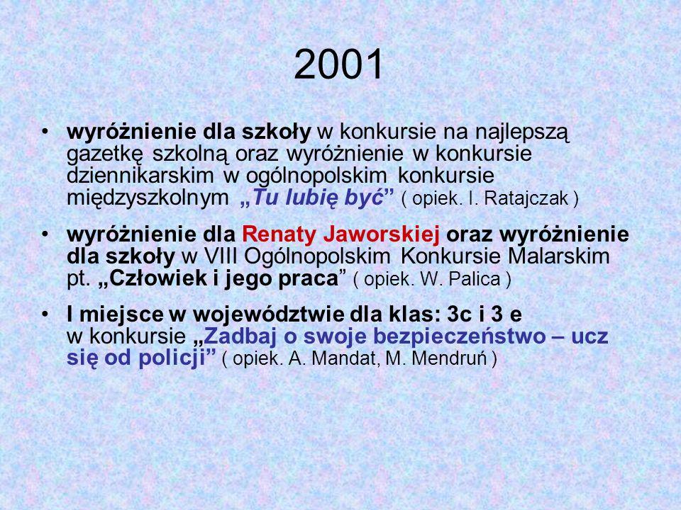 """2001 wyróżnienie dla szkoły w konkursie na najlepszą gazetkę szkolną oraz wyróżnienie w konkursie dziennikarskim w ogólnopolskim konkursie międzyszkolnym """"Tu lubię być ( opiek."""