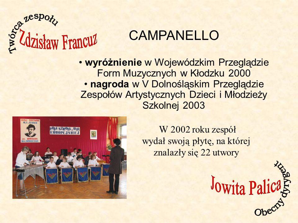 CAMPANELLO wyróżnienie w Wojewódzkim Przeglądzie Form Muzycznych w Kłodzku 2000 nagroda w V Dolnośląskim Przeglądzie Zespołów Artystycznych Dzieci i Młodzieży Szkolnej 2003 W 2002 roku zespół wydał swoją płytę, na której znalazły się 22 utwory