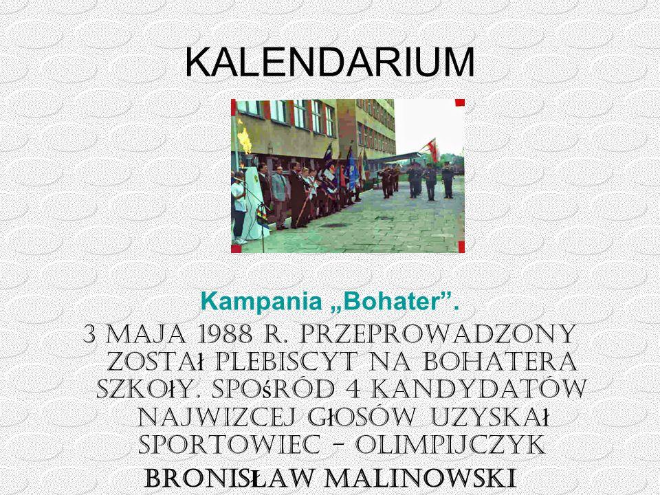 """KALENDARIUM Kampania """"Bohater"""". 3 maja 1988 r. przeprowadzony zosta ł Plebiscyt na Bohatera Szko ł y. Spo ś ród 4 kandydatów najwięcej g ł osów uzyska"""