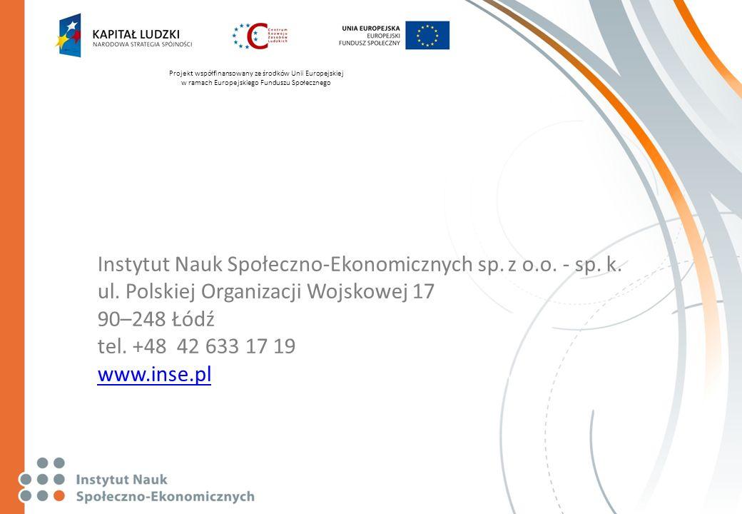 Projekt współfinansowany ze środków Unii Europejskiej w ramach Europejskiego Funduszu Społecznego Instytut Nauk Społeczno-Ekonomicznych sp. z o.o. - s